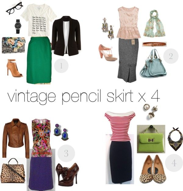 Vintage Pencil Skirt Styled 4 Ways
