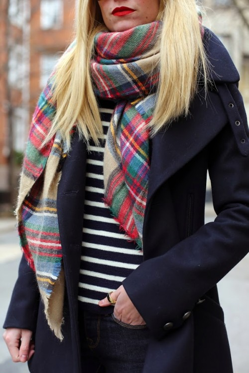 How to wear an oversized plaid scarf by Atlantic Pacific
