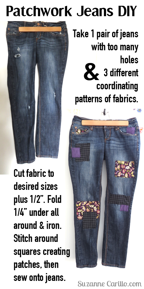 DIY patchwork jeans how to