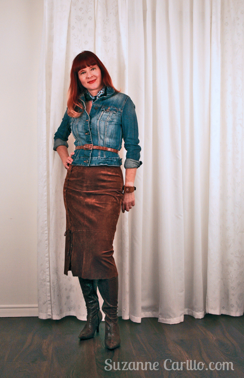 how to wear a vintage suede skirt
