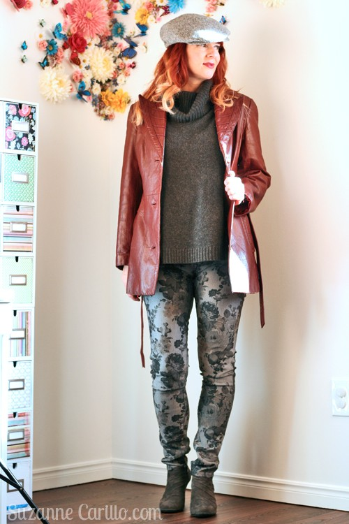 how to wear grey and burgundy vintage leather jacket