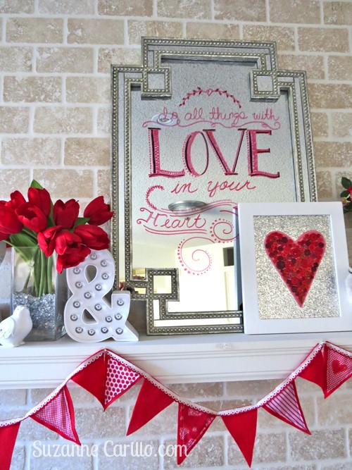 Valentine Day home decor ideas and writing on a mirror with dry erase markers