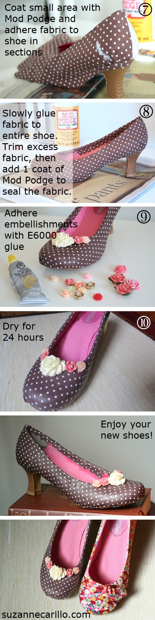 10 step fabric covered DIY shoes