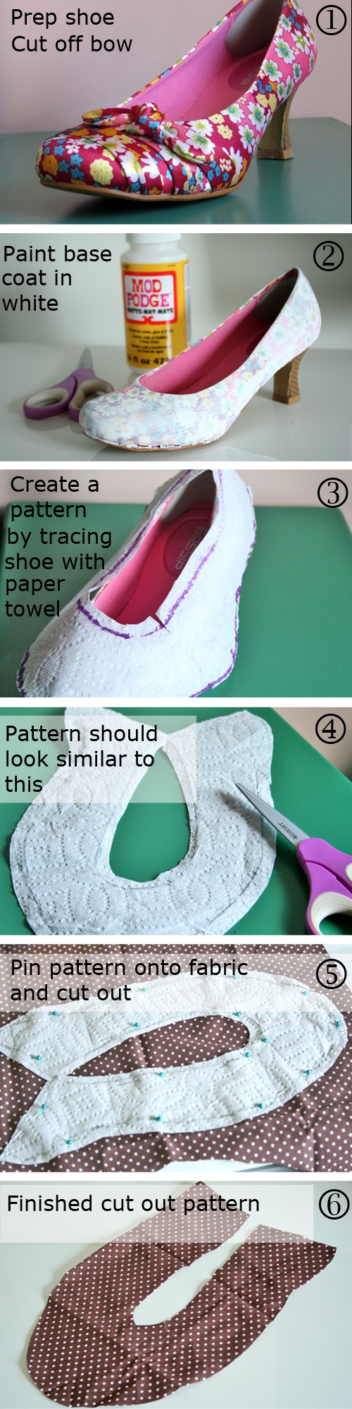 DIY fabric covered shoes instructions