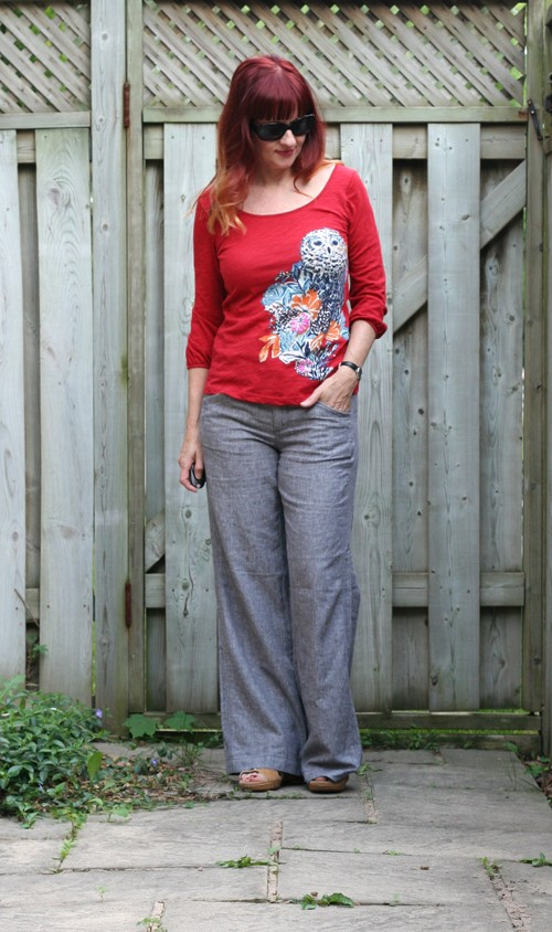 anthropologie linen pants and owl top
