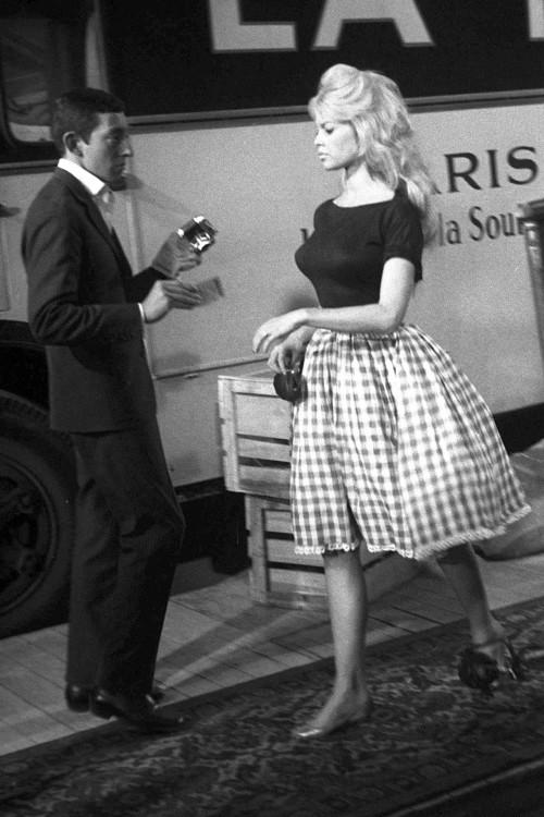 Bridget Bardot wearing gingham skirt