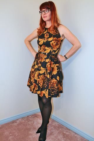black and yellow fit and flare mod cloth dress suzanne carillo