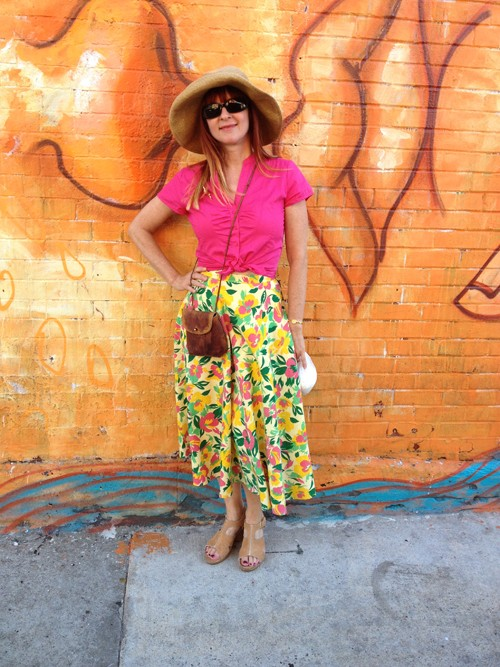 what i wore in nyc vintage midi printed skirt suzanne carillo