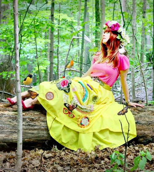 yellow travelling skirt with birds suzanne carillo