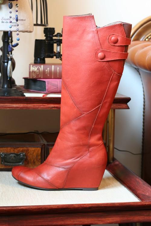 orange leather boots miss mooz