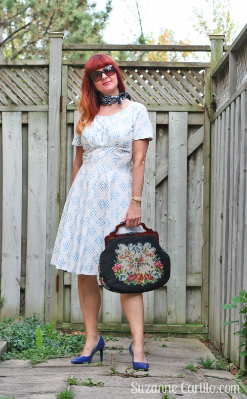 vintage white and blue summer dress suzanne carillo
