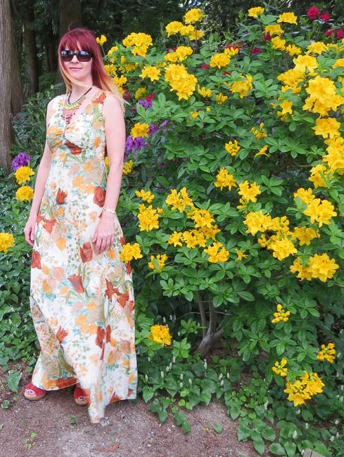 1970s vintage yellow maxi dress suzanne carillo