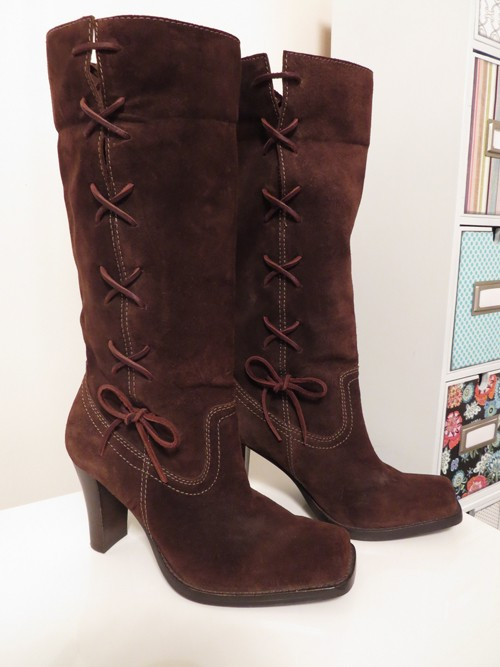 michael kors brown lace up suede boots