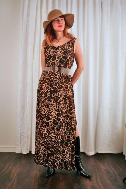 anthropologie belt leopard dress