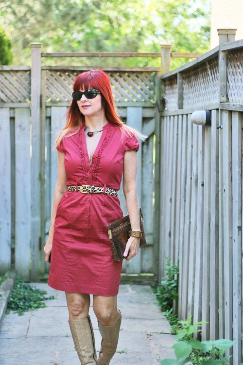 rust H&M dress leopard belt miu miu snakeskin boots suzanne carillo style files