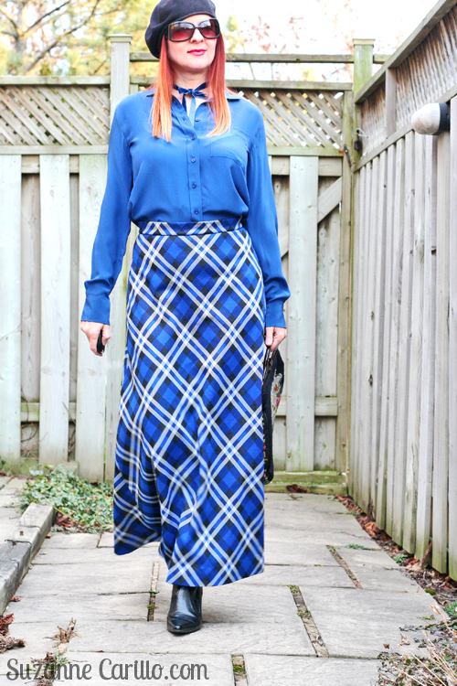 how to wear a plaid maxi skirt over 40 suzanne carillo