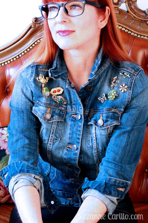 vintage brooch diy jean jacket style for women over 40 suzanne carillo