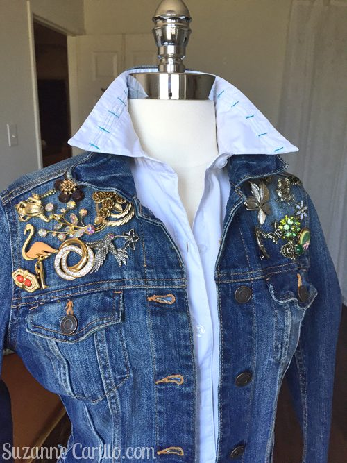 DIY altered jean jacket with vintage brooches