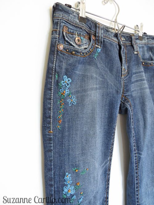 DIY embroidered jeans suzanne carillo