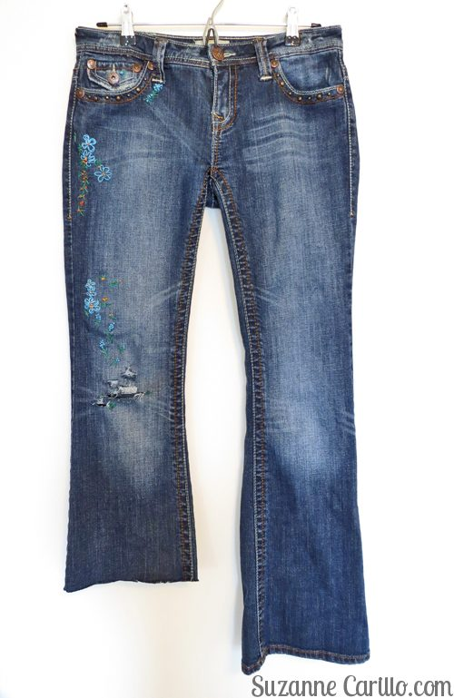 DIY frayed embroidered jeans suzanne carillo style for women over 40