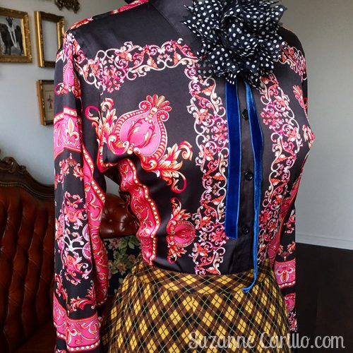 patterned blouse and skirt