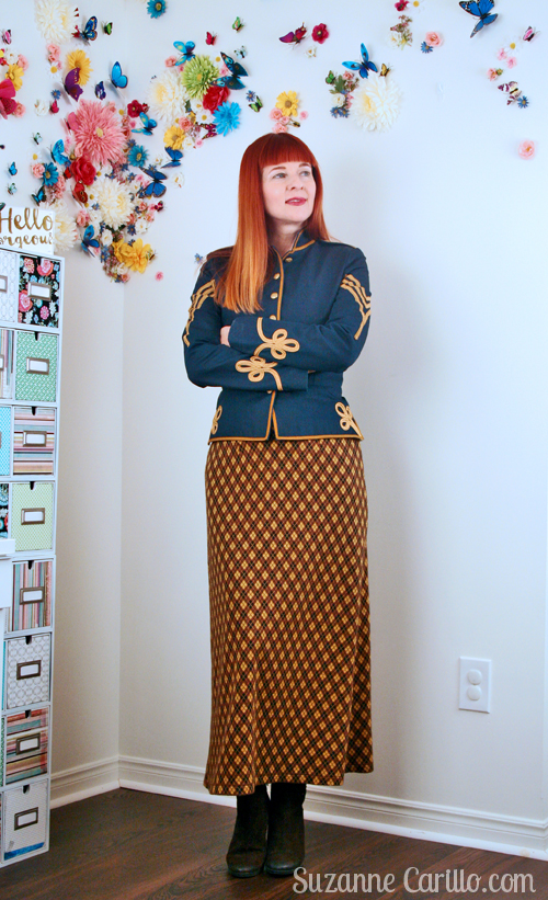 wear army jacket with maxi skirt suzanne carillo