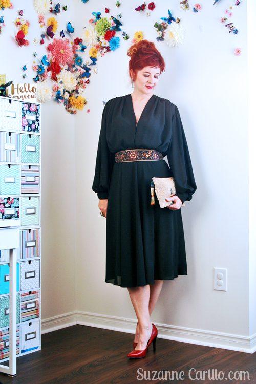 black 1980s vintage dress suzanne carillo