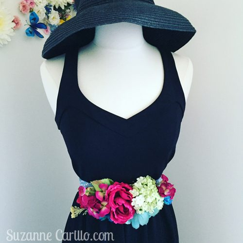 diy floral belt with black dress suzanne carillo