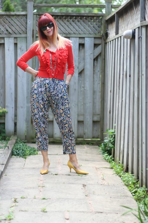 how to style printed harem pants over 50 suzanne carillo