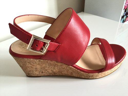 red vince camuto wedge sandal