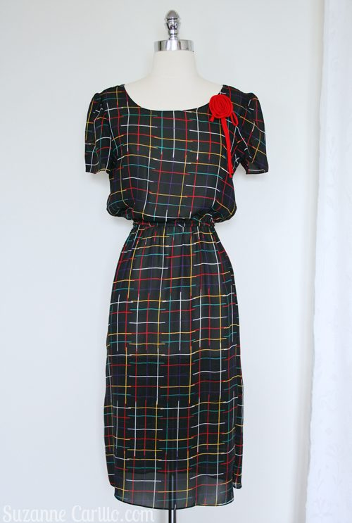 1980s multi colored windowpane dress with detachable rose for sale on etsy