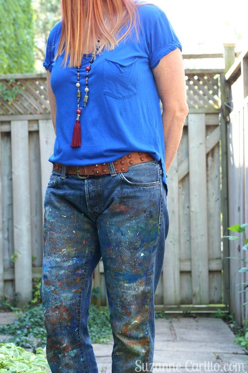 DIY paint splatter jeans suzanne carillo