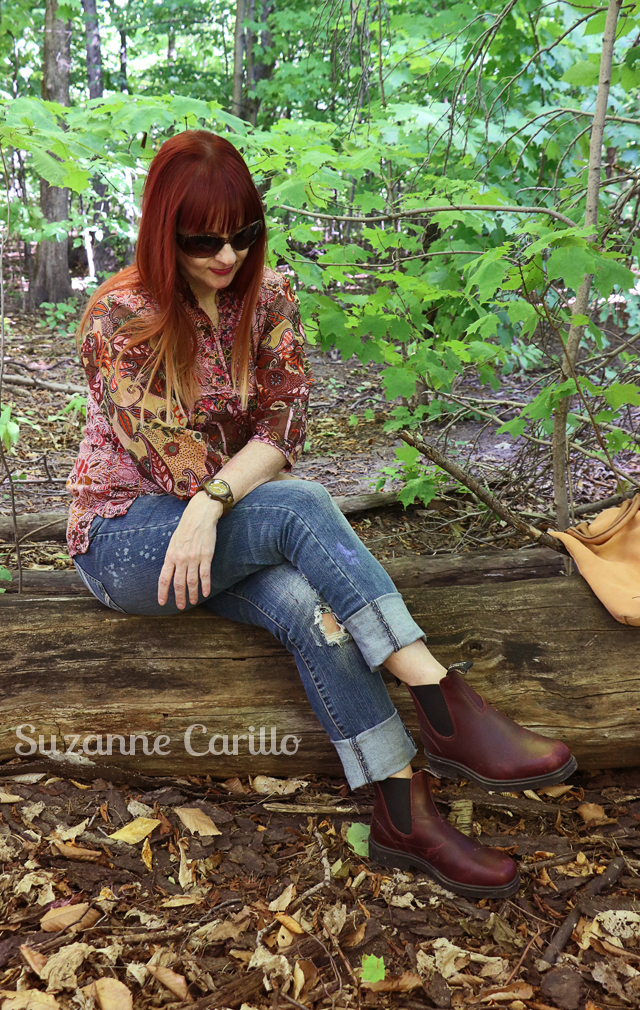 Blundstone in Redwood Union Jack Boots Suzanne Carillo style for women over 40 Fall booties