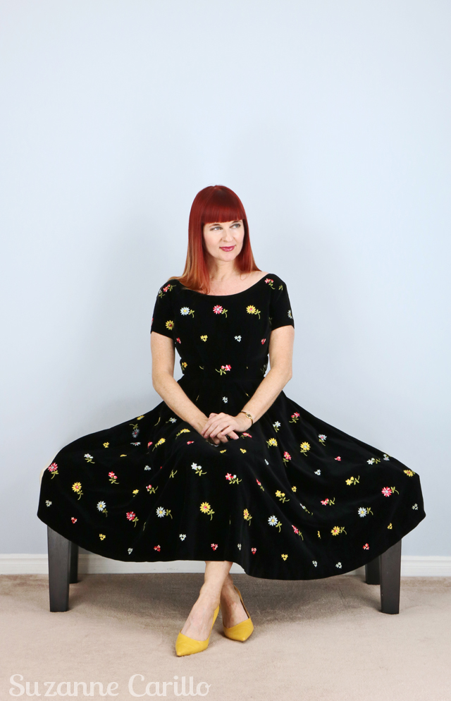 Toronto vintage clothing show black velvet 1950's dress with floral embroidery vintage by Suzanne