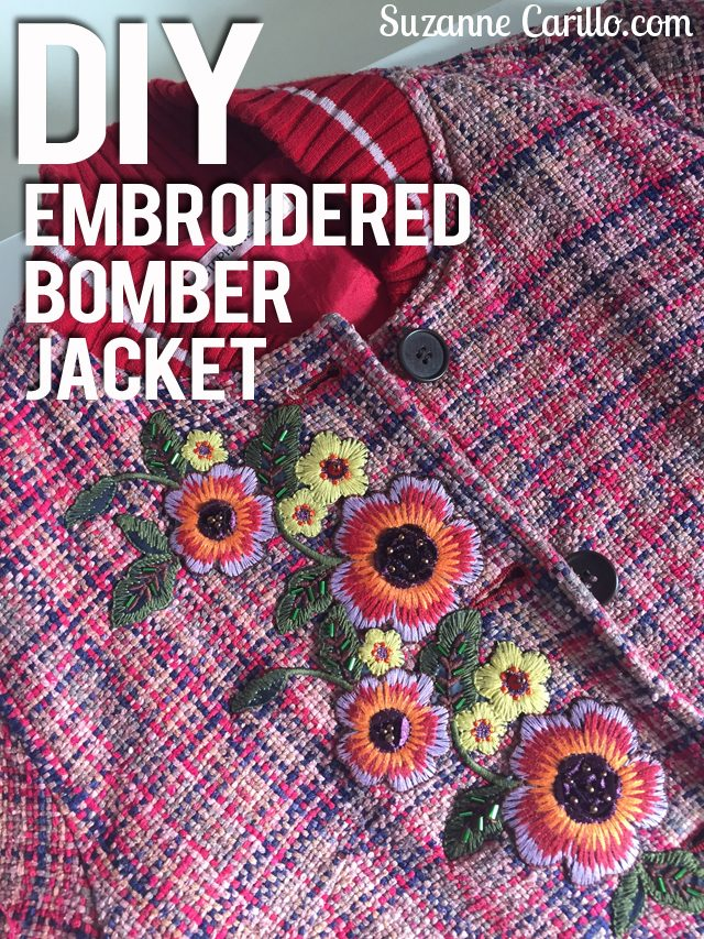 DIY embroidered bomber jacket suzanne carillo style for women over 40