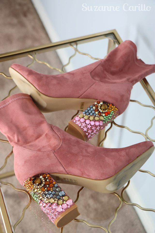 DIY rhinestone boots in suede by suzanne carillo