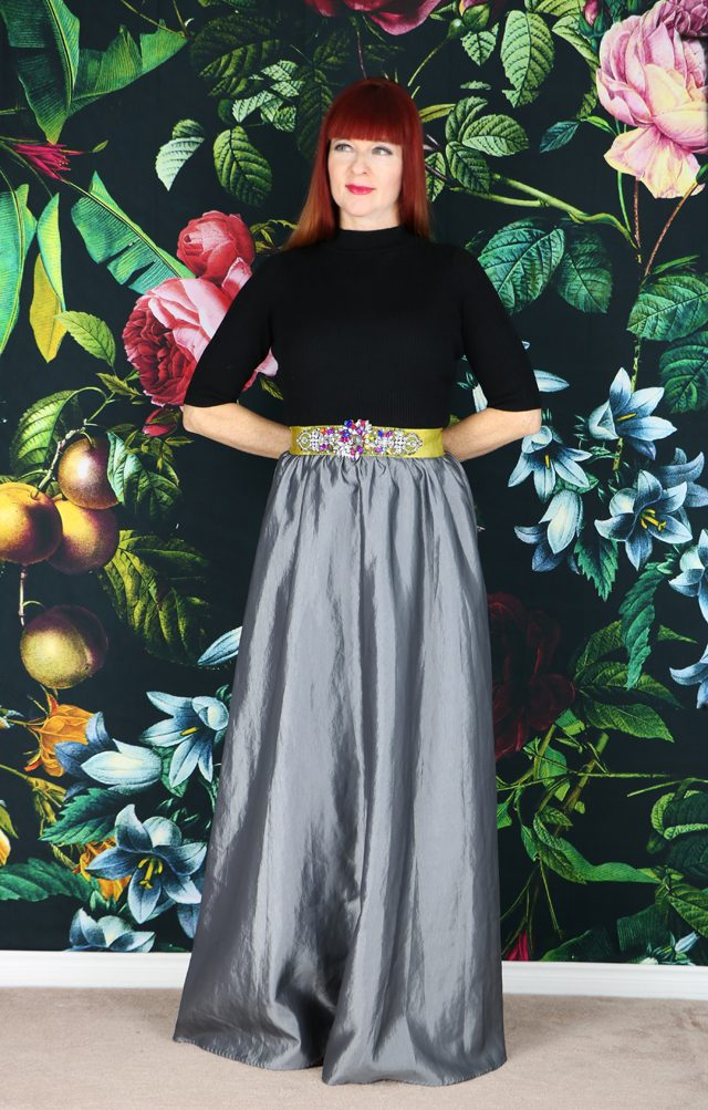 maxi skirt styled for Christmas and holiday dressing over 40 style suzanne carillo