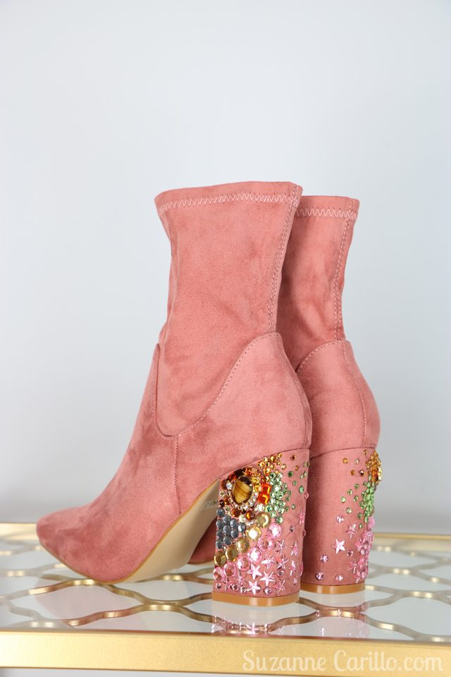 How to DIY rhinestone heel boots by suzanne carillo
