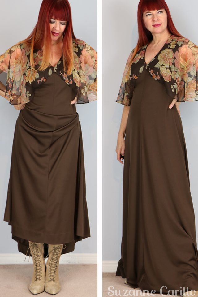 brown 1970s maxi dress with flutter sleeves for sale