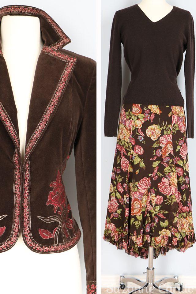 velvet embroidered blazer vintage floral silk midi skirt for sale