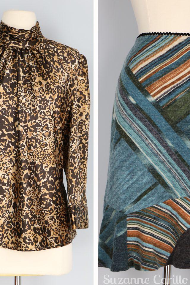 vintage leopard blouse vintage patchwork wool skirt for sale