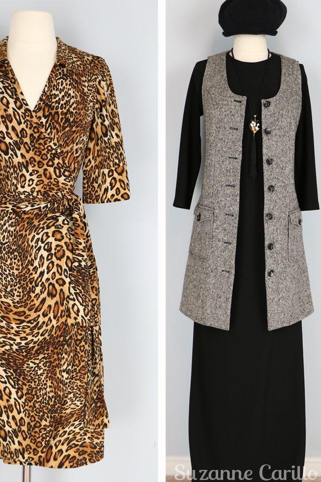 vintage leopard wrap dress tweed vest for sale vintagebysuzanne on etsy vintage style for women over 40