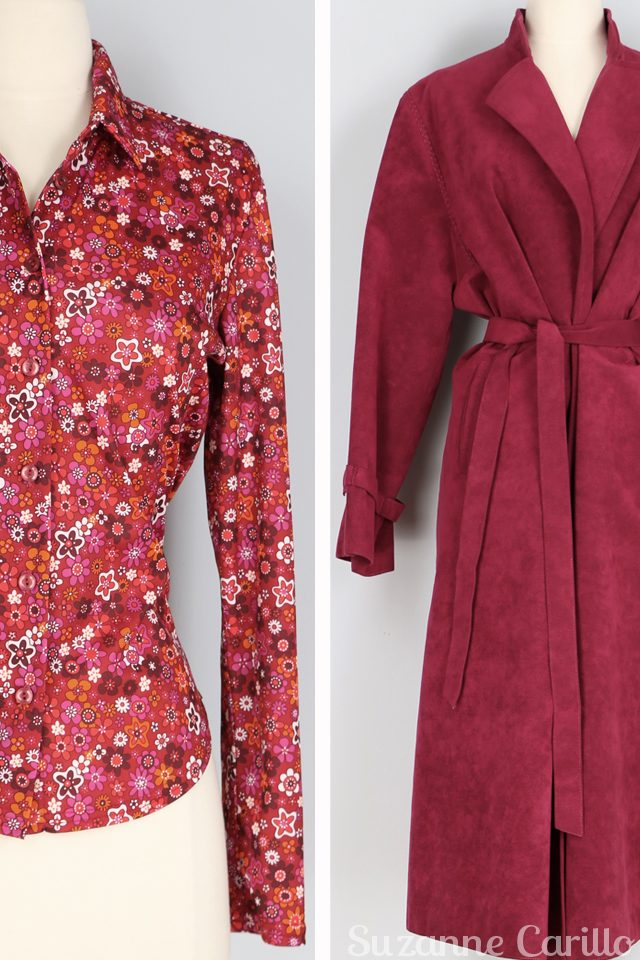 vintage red faux suede trench coat vintage floral red pink blouse for sale