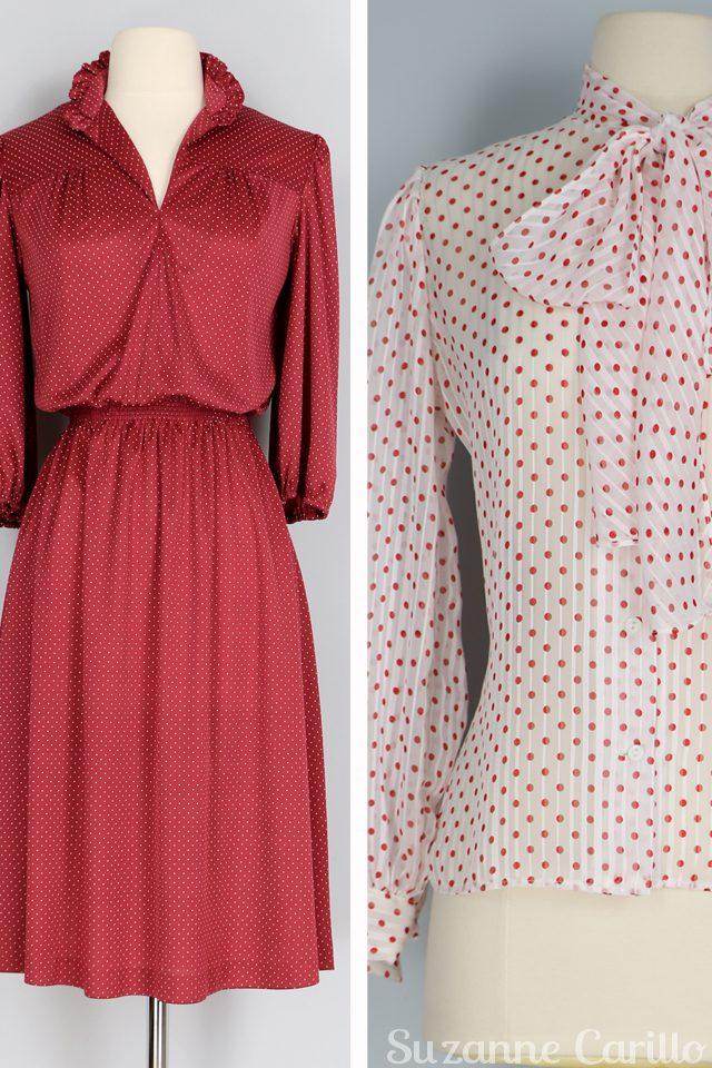 vintage red polkadot dress white vintage polkadot pussy bow blouse for sale