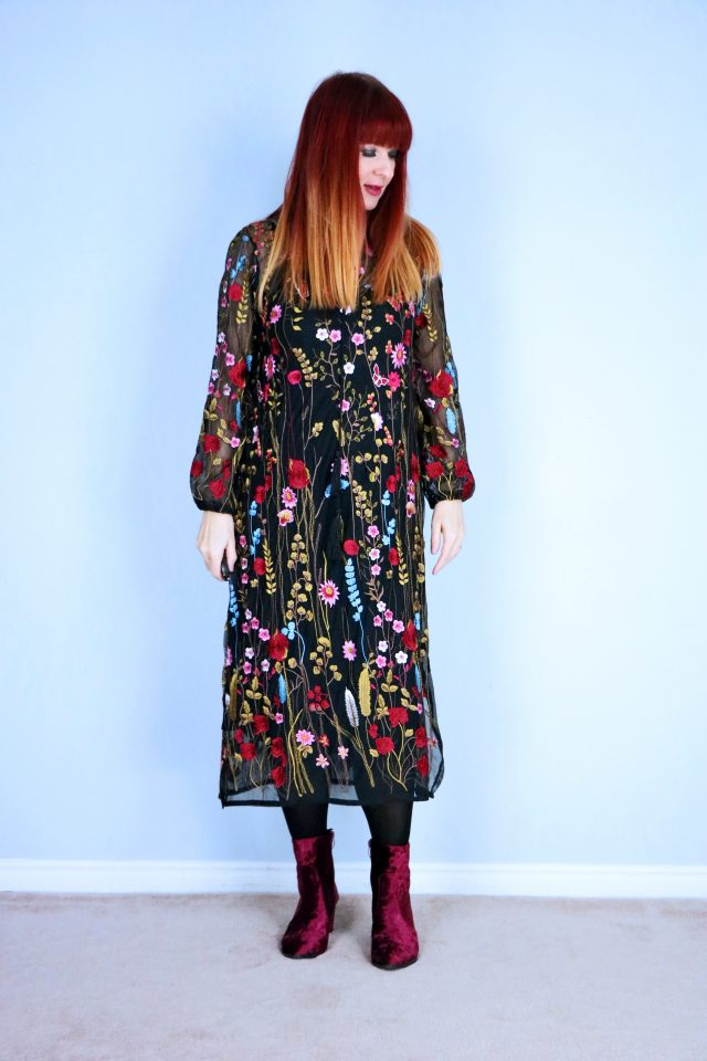 how to wear an embroidered boho style dress over 40 suzanne carillo