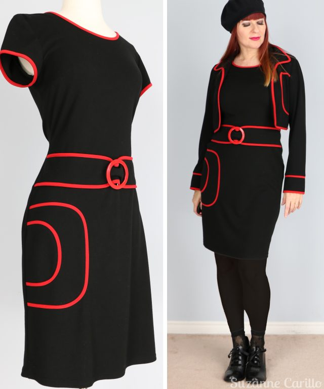 1960s vintage black and red joseph ribkoff two piece dress for sale