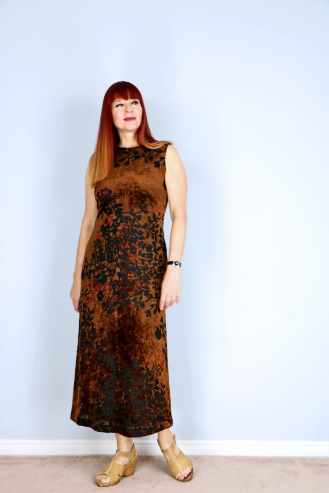 brown burn out velvet vintage floral midi dress for sale alfred sung buy now vintagebysuzanne on etsy