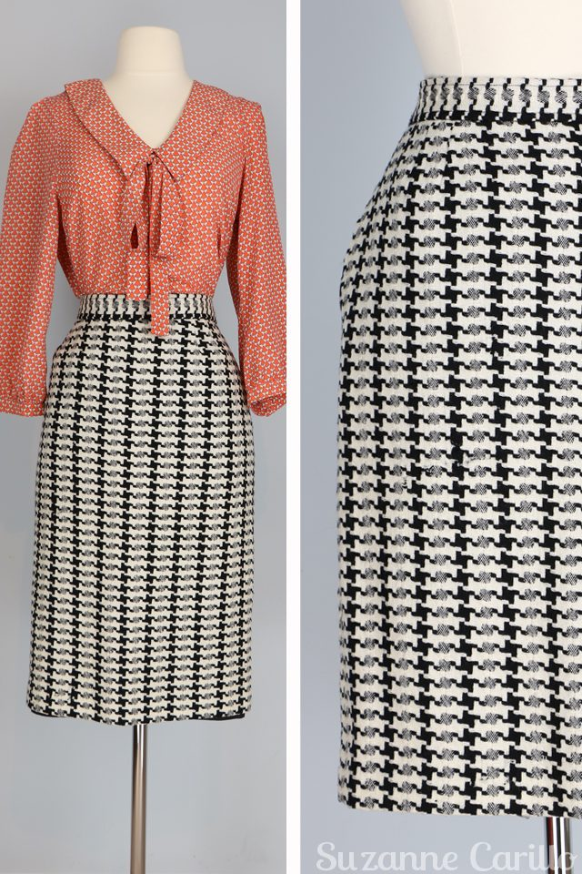 vintage houndstooth pencil skirt vintage pussy bow blouse for sale vintagebysuzanne on etsy