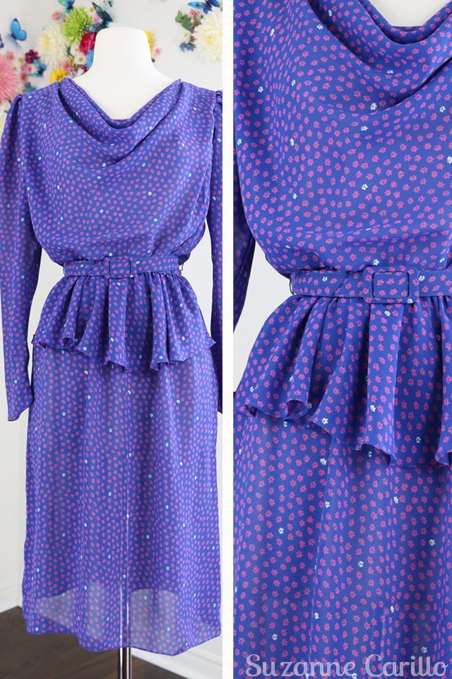1940s inspired purple long sleeve dress for sale