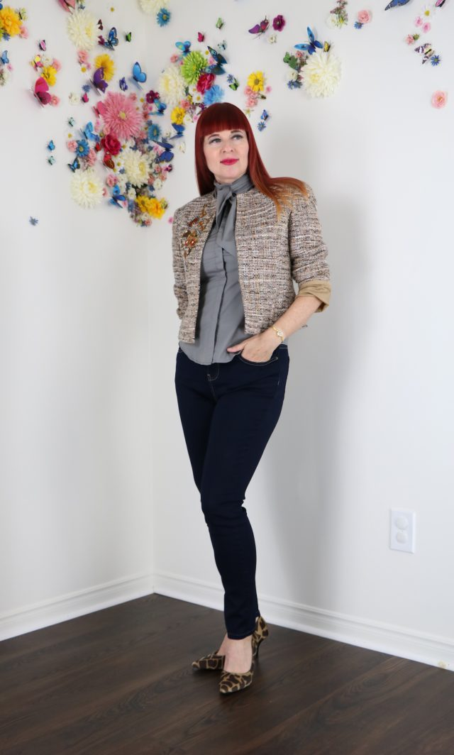 DIY embroidered blazer Suzanne Carillo style over 40
